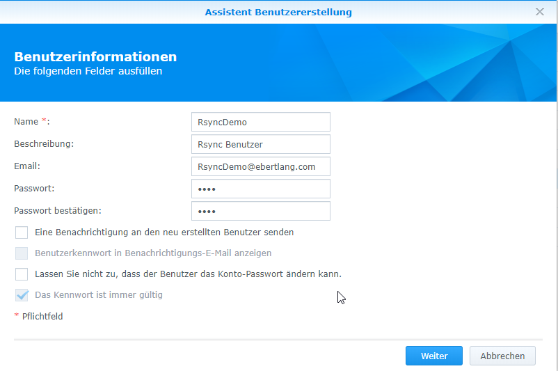 BackupAssist-Benutzerinformationen