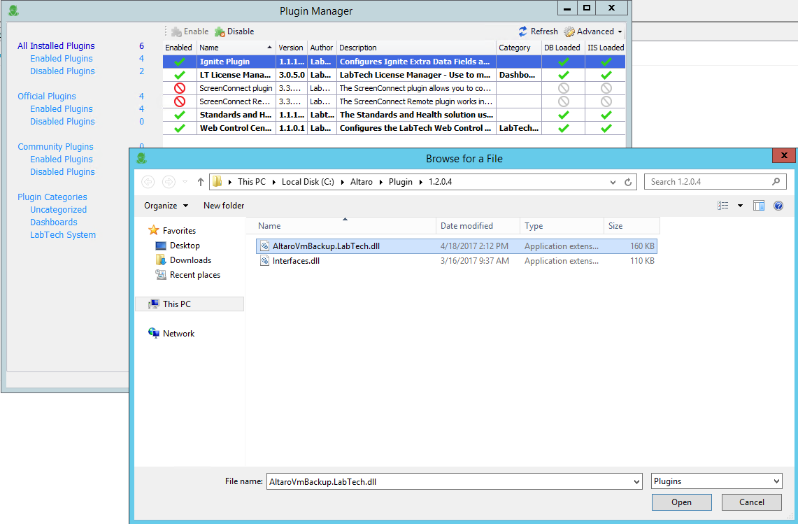 Altaro VM Backup in Connectwise Automate Labtech Integration ...